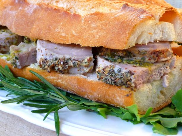 Roasted Pork Loin With Mustard Garlic and Herbs