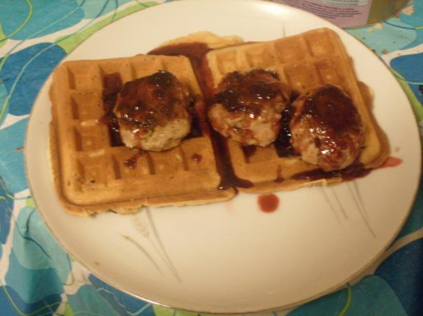 Savory Sour Cream and Chive Waffles With Sausage and Lingonberry