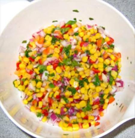 Sweetcorn and Red Pepper Salsa/Garnish