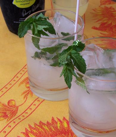Lime-Oncello Spritzers With Mint