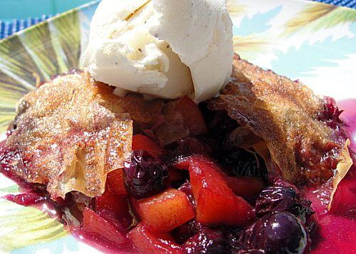 Blueberry-Peach Cobblers for 2