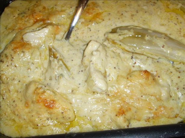 Baked Chicory/Endive With Chicken in a Sage and Mustard Sauce