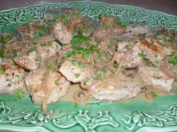 Simmered Pork with Mustard-Caper Sauce