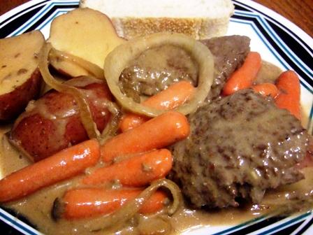Slow Cooker Swiss Steaks With Beef Gravy, and Potatoes