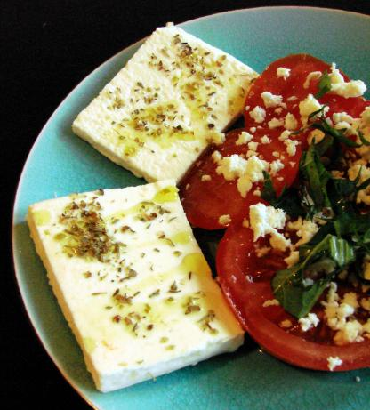 Sliced Feta With Oregano and Olive oil