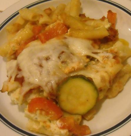 Grilled Chicken & Veggie Three Cheese Pasta Bake