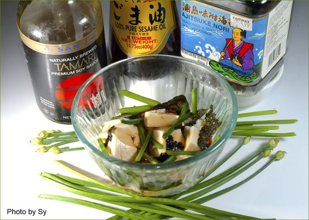 Silken Tofu With Chives Japanese Style