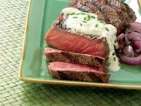 Marinated Strip Steaks With Gorgonzola Sauce