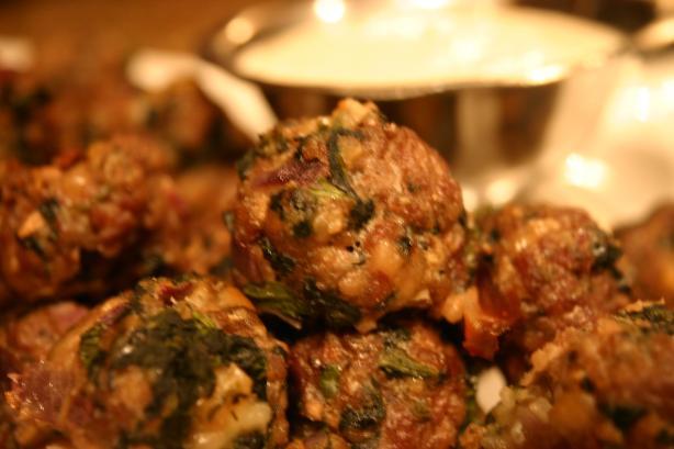 Spanakopita Meatballs With Greek Yogurt Sauce