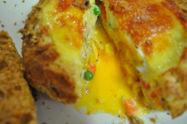 Veggies and Egg in a Bread Roll
