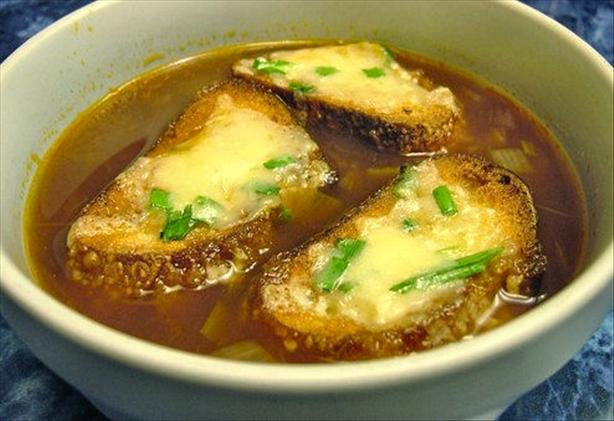 Five-Onion Soup With Scallion and Gruyere Croutons