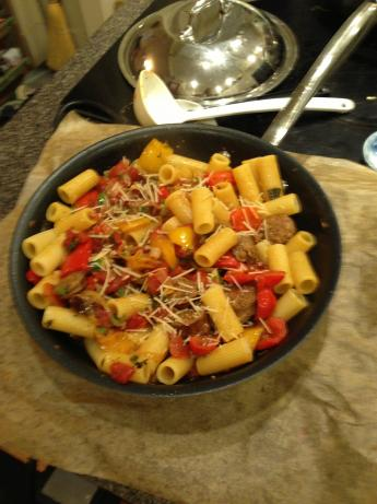 Rigatoni With Italian Sausage, Peppers, and Onions
