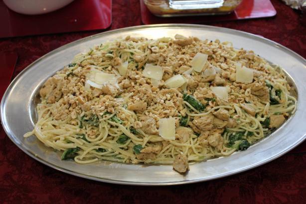 Spaghetti With Mascarpone, Lemon, Spinach and Hazelnuts