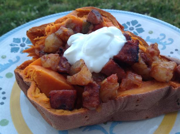 Sweet Potatoes Stuffed With Shrimp and Salsa