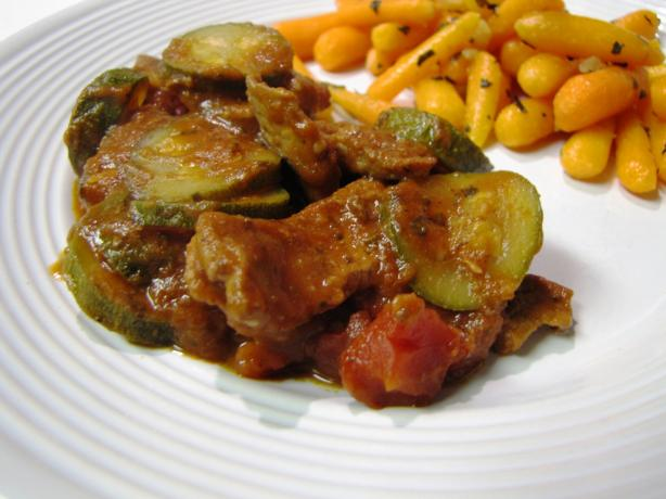 Beef Strips With Zucchini and Tomatoes