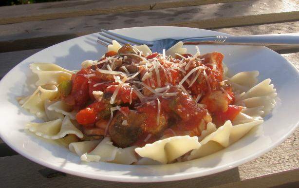 Chicken Cacciatore over Pasta