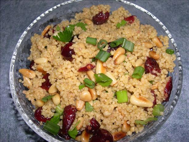 Couscous With Curry, Cranberries and Toasted Pine Nuts