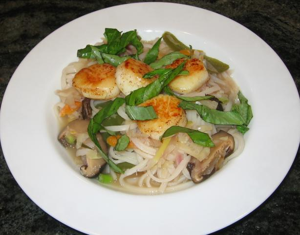 Seared Scallop Thai Noodle Soup