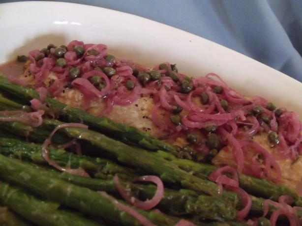 Lemon Butter Salmon With Capers and Asparagus
