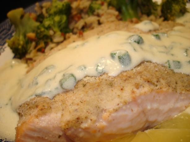 Baked Horseradish Salmon With Chardonnay Chive Butter Sauce
