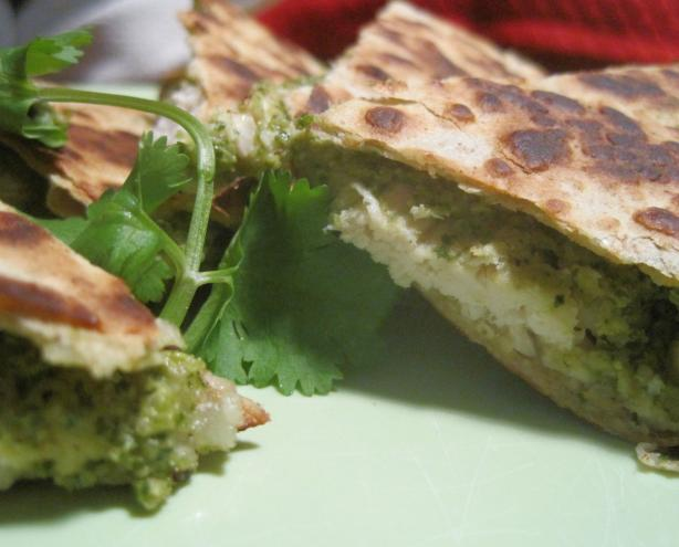 Chicken Quesadillas With Poblano Pesto