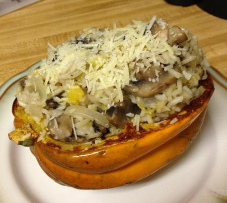 Acorn Squash Stuffed With Mushrooms and Rice