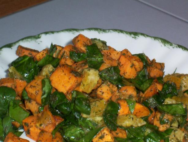 Wilted Spinach Salad With Roasted Kumara (Sweet Potato)