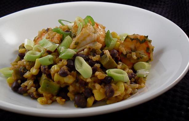 Shrimp With Black Beans, Okra & Fresh Corn