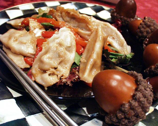 Pot Sticker and Roasted Pepper Salad