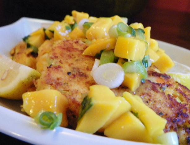 Sweet Cornbread Shrimp Cakes With Mango Salsa