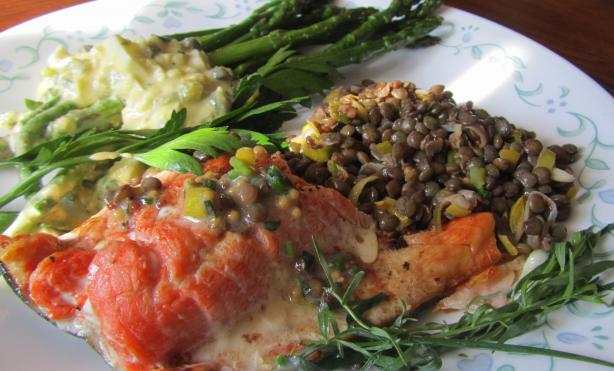Salmon With Lentils and Mustard-Herb Butter (Saumon Aux Lentille