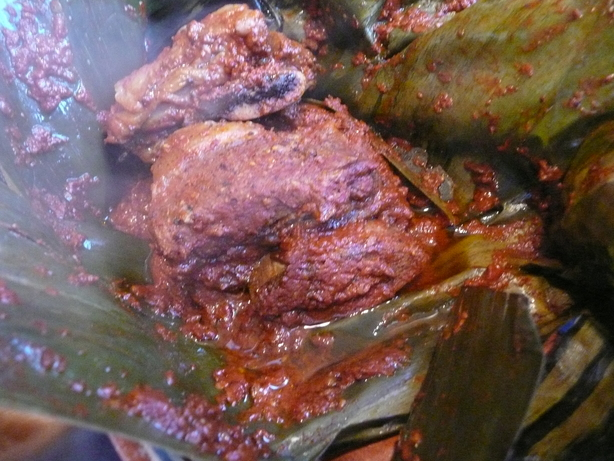 Beef With Guajillo Sauce Baked in Banana Leaves - Mixiote De Car