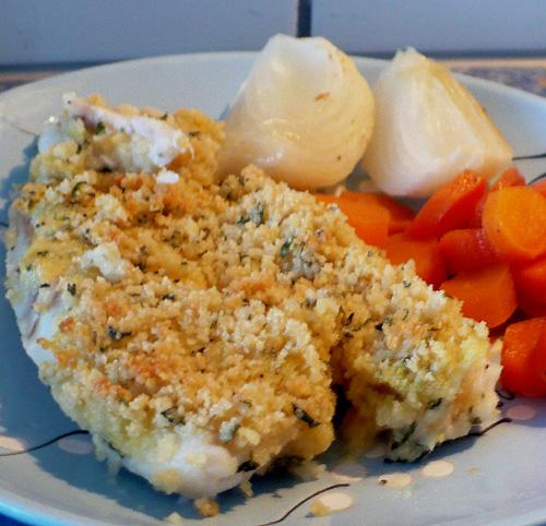 Dijon & Parmesan Crusted Halibut