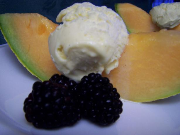 Cassis-Splashed Melon With French Vanilla Ice Cream & Blackb