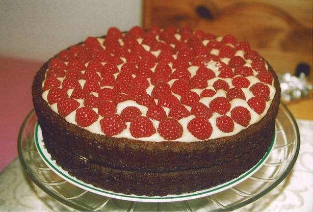 Chocolate Raspberry Torte With Mocha Cream Filling
