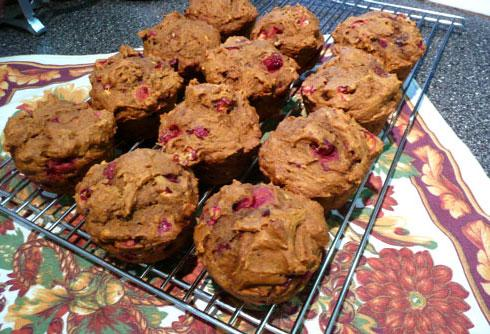 Fresh Cranberry Pumpkin Muffins