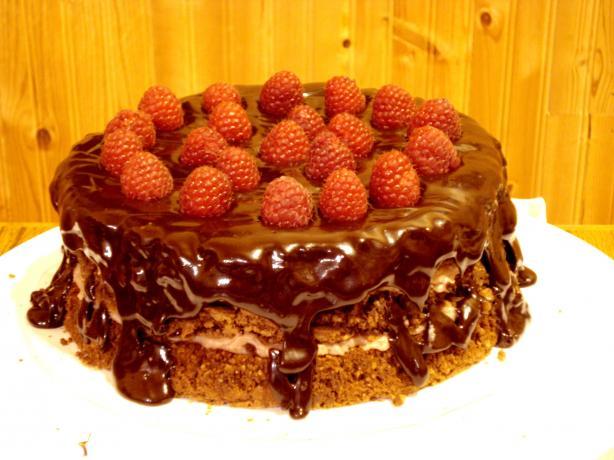 Chocolate Pecan Torte With Raspberry Cream & Chocolate Glaze