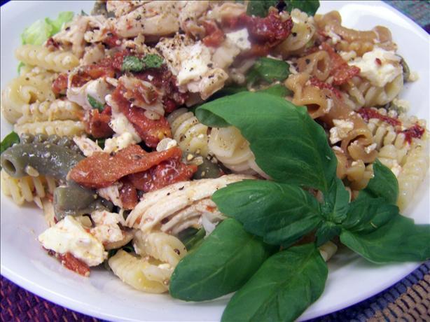 Chicken, Roasted Capsicum, Feta and Walnut Pasta Salad