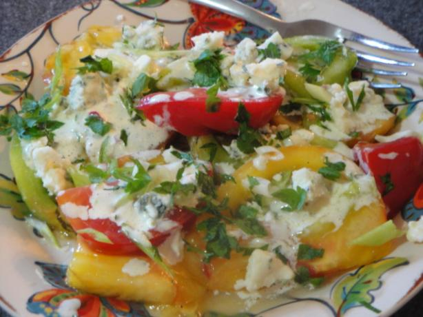 Heirloom Tomato Salad With Buttermilk Dressing and Blue Cheese