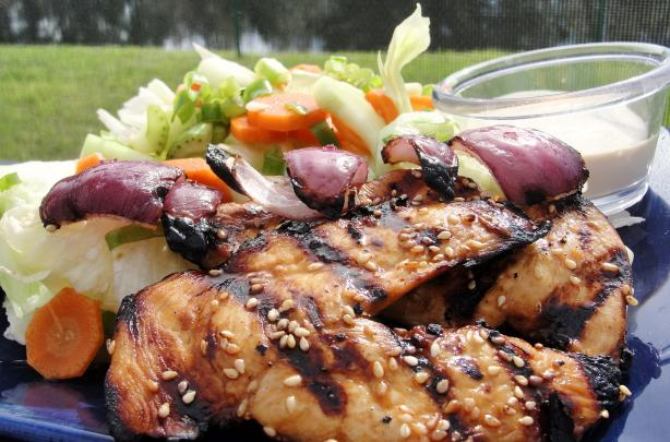 Chicken Sesame Kabobs With Salad