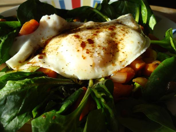 Sweet Potato, Bacon, Spinach Salad W/Fried Eggs