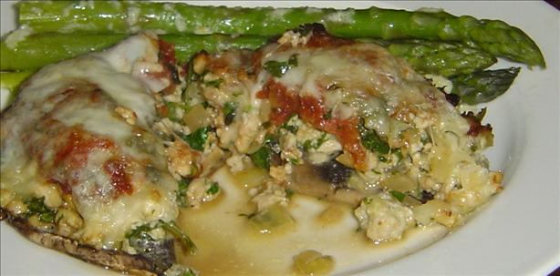 Portabella Mushrooms Stuffed With Chicken