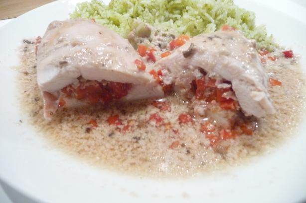 Ham Stuffed Chicken Breast on Savoury Rice