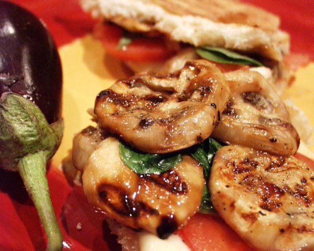 Grilled Eggplant (Aubergine) and Mozzarella Sandwiches