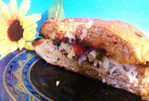 Roasted Pepper And Mozzarella Sandwich With Basil Puree
