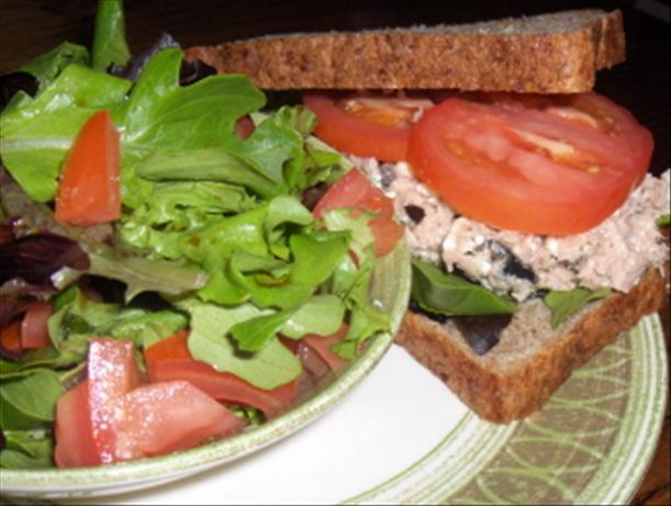 Tuna, Arugula and Feta Sandwich and Salad