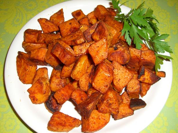 Spicy Chipotle-Cinnamon Roasted Sweet Potatoes