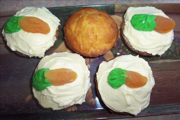 Carrot Cake Muffins With Cream Cheese Icing and Carrot