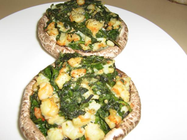 Shrimp, Spinach and Cheese Stuffed Mushrooms