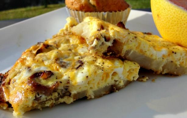 Sausage, Potato and Cheese Omelet